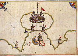 The Port of Brindisi, from The Book of Navigation of Piri Reis (1465/70–1553), Ottoman admiral, geographer and cartographer