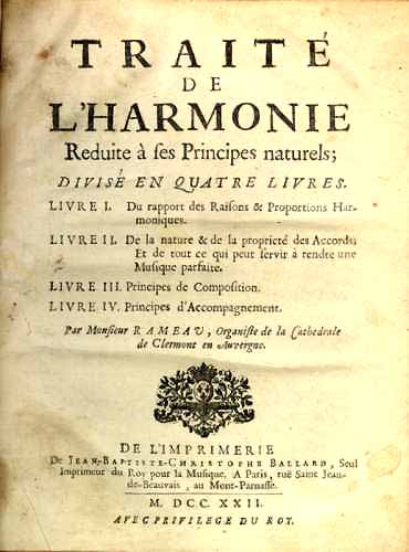 Title page of Jean-Philippe Rameau's Traité de l'harmonie