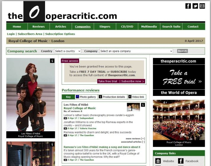 Review of Les Fetes d' Hebe on Opera Critic