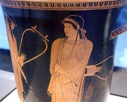 Alcaeus and Sappho, Attic red-figure kalathos, c. 470 BC