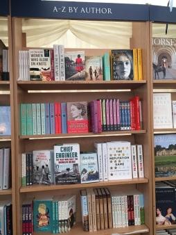 Blackwell's bookshelves at the Oxford Literary Festival