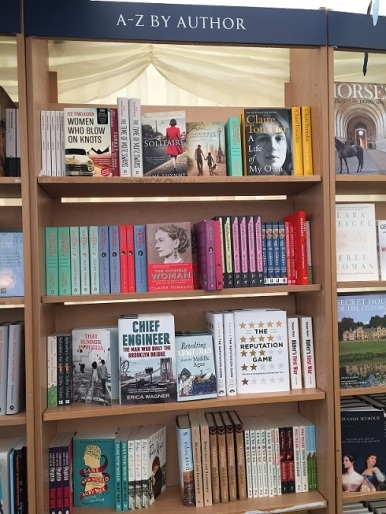 Blackwell's bookshelves at the Oxford Literary Festival