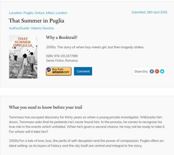 Susan Heads' review and guide to places in That Summer in Puglia, for The Book Trail