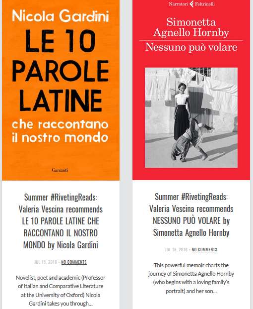 Riveting Reads: on Simonetta Agnello Hornby and Nicola Gardini