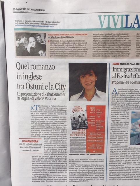 Article in La Gazzetta del Mezzogiorno