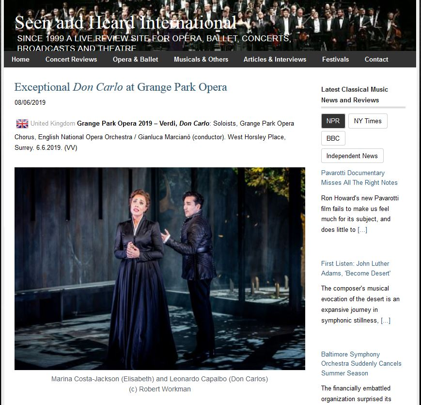 Review of Don Carlo for Seen and Heard International
